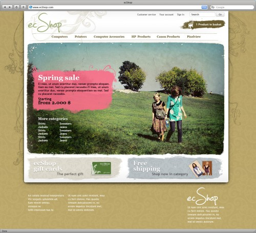 ecShop - Organic template front page